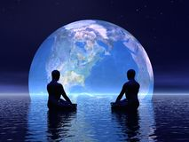 Meditation for earth - 3D render Stock Photo