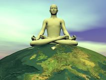 Meditation for the earth - 3D render Royalty Free Stock Photo