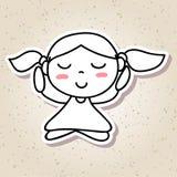 Meditation för lycka för unge för folk för handteckningsabstrakt begrepp conc lycklig Royaltyfri Fotografi