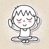 Meditation för lycka för unge för folk för handteckningsabstrakt begrepp lycklig Royaltyfri Bild