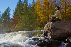 Meditation at the Falls Stock Photography