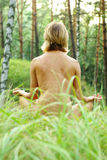 Meditation in the forest Royalty Free Stock Image