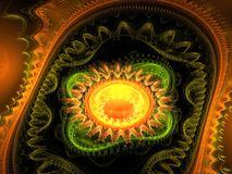 Meditation fractal. Romantically a yellow fractal meditation and colorful background Stock Image