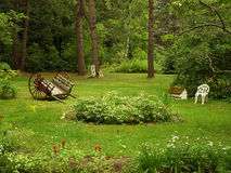 Meditation Garden. Quiet meditation garden in the forrests of Oregon Stock Photo