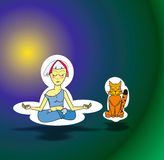 Meditation. Girl and cat meditate in nirvana royalty free illustration