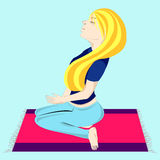 Meditation Girl. Illustration of girl meditating on a carpet Stock Image