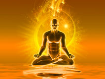 Meditation with golden light Stock Images