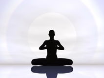 Meditation by hard sun - 3D render Royalty Free Stock Photos