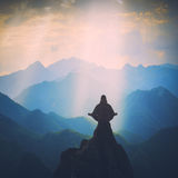 Meditation in a high mountain valley. Instagram stylization Royalty Free Stock Image