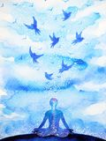 Meditation human, flying birds abstract mind illustration watercolor painting. Design hand drawn Stock Image