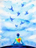 Meditation human, flying birds in blue sky abstract mind illustration. Watercolor painting design hand drawn Stock Photo