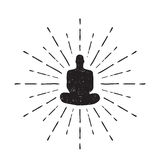 Meditation Human silhouette isolated on white background Vector Stock Photography