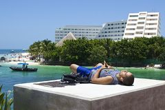 Meditation i Cancun, Mexico Royaltyfria Foton
