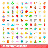 100 meditation icons set, cartoon style. 100 meditation icons set in cartoon style for any design vector illustration Royalty Free Stock Photo