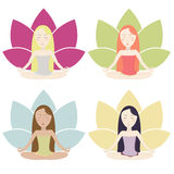 Meditation icons set. Set of illustrations with meditating girls in bright colors. Vector eps10 Stock Photo
