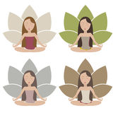 Meditation icons set. Set of illustrations with meditating girls in muted colors. Vector eps10 Stock Photography
