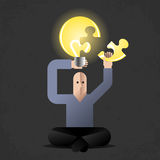 Meditation of Idea Finder. Cartoon man in lotus position, holding puzzled lightbulb as metaphoric symbol of new ideas Stock Photos