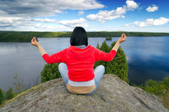 Meditation in idyllic scenery of Sweden Royalty Free Stock Photography