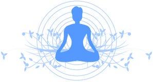 Meditation illustration with meditating man isolated Royalty Free Stock Image