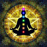 In Meditation. Illustration of a meditation silhouette with chakras vector illustration