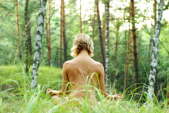 Meditation im Wald Stockfotografie