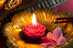 Meditation with incense and a candle. Spa decoration royalty free stock images