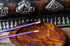 Meditation with incense Stock Photography