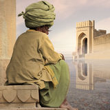 Meditation. Indian man with traditional turban near Ganges Royalty Free Stock Photography