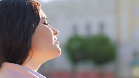 Meditation inspiration woman eyes closed relaxing