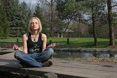 Meditation at japanese garden Royalty Free Stock Photos