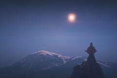 Meditation light of full moon. Instagram stylization Royalty Free Stock Image