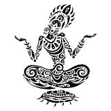 Meditation lotus pose. Tattoo style. Yoga Meditation lotus pose. Hand Drawn Illustration. Polynesian style tattoo Stock Photos