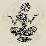 Meditation lotus pose. Tattoo style Stock Photography