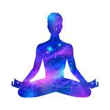 Meditation. Male silhouette with outer space. Meditation concept Royalty Free Stock Photography