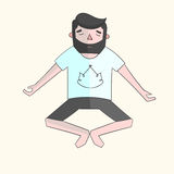 Meditation man color vector illustration Stock Photos