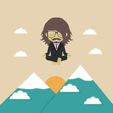 Meditation. Man fly above mountain, medition, metaphor concept Royalty Free Stock Photography