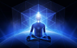 Meditation of man. Sacral geometry and meditation of man Stock Photo