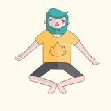 Meditation man vivid color vector illustration Royalty Free Stock Photography