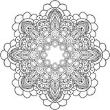 Meditation Mandalas, drawing with coloring lines, on white backg Royalty Free Stock Images