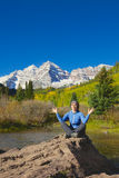 Meditation at Maroon Bells Royalty Free Stock Images