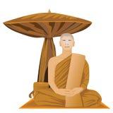 Meditation of monk Royalty Free Stock Photo