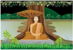 Meditation of monk Royalty Free Stock Photography
