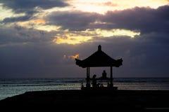 Meditation morning in bali. Sunrise at beach from bali and meditation Stock Image