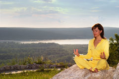 Meditation on the mountain Stock Image