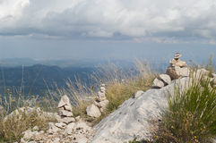 Meditation on the mountain top. The Mausoleum of Njegosh, Montenegro Stock Images