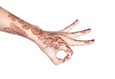 Meditation mudra with henna Stock Photography