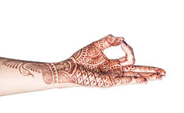 Meditation mudra with henna Royalty Free Stock Photo