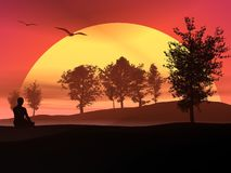 Meditation in the nature by sunset Royalty Free Stock Photos