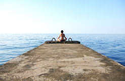 Meditation Near Sea Royalty Free Stock Photos