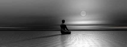 Meditation by night Royalty Free Stock Image